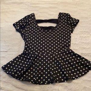Peplum polka dot top with open back
